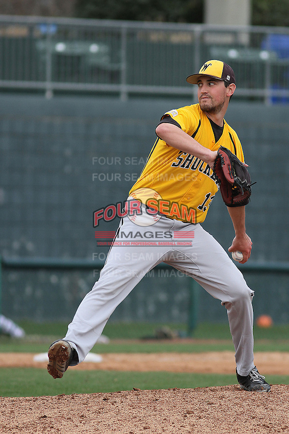 Wichita State Shockers pitcher Kris Gardner #13 pitching during a game against the Coastal Carolina Chanticleers at Ticketreturn.com Field at Pelicans Ballpark on February 23, 2014 in Myrtle Beach, South Carolina. Wichita State defeated Coastal Carolina by the score of 5-2. (Robert Gurganus/Four Seam Images)