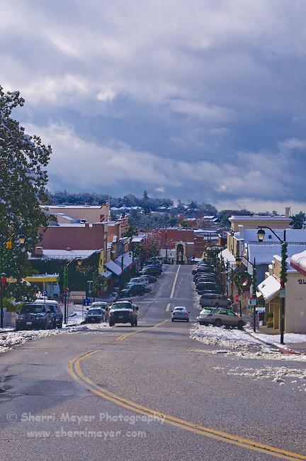 Downtown Auburn, California in the snow.
