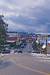 Downtown Auburn, California in the snow.
