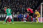 02.11.2019, wohninvest WESERSTADION, Bremen, GER, 1.FBL, Werder Bremen vs SC Freiburg<br /> <br /> DFL REGULATIONS PROHIBIT ANY USE OF PHOTOGRAPHS AS IMAGE SEQUENCES AND/OR QUASI-VIDEO.<br /> <br /> im Bild / picture shows<br /> Milos Veljkovic (Werder Bremen #13), <br /> Nils Petersen (SC Freiburg #18) klärt vor Mark Flekken (SC Freiburg #26), <br /> <br /> Foto © nordphoto / Ewert