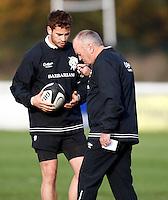 Photo: Richard Lane/Richard Lane Photography. Barbarians training. 24/11/2011. Danny Cipriani with Head Coach, Graham Henry.