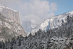 Snow El Capitan and Yosemite Valley, Yosemite National Park, Calif.