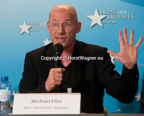 Brussels-Belgium - July 15, 2014 -- Press conference on the registration of the European Citizens' Initiative STOP TTIP and the demand of a stop of the negotiations for TTIP and CETA, held at Press Club Brussels Europe; here, Michael EFLER (spokesperson More Democracy, Mehr Demokratie e.V., Germany) -- Photo: © HorstWagner.eu