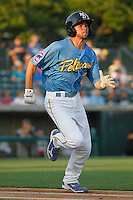 Myrtle Beach Pelicans infielder Chesny Young (3) in action during a game against the Frederick Keys at Ticketreturn.com Field at Pelicans Ballpark on May 21, 2015 in Myrtle Beach, South Carolina.  Frederick defeated Myrtle Beach 4-3. (Robert Gurganus/Four Seam Images)
