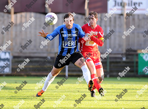 2012-10-28 / Voetbal / seizoen 2012-2013 / Rupel-Boom - KV Turnhout / Serkan Kocaslan (Rupel-Boom) met Gunther Loyens (r.)..Foto: Mpics.be