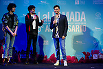 Directors Javier Calvo, Javier Ambrossi and Paco Arrojo during presentation of new cast of 'La Llamada' theater show at Teatro Lara in Madrid, Spain. May 24, 2018. (ALTERPHOTOS/Borja B.Hojas)