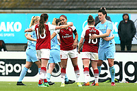 Arsenal players celebrate the victory after Arsenal Women vs Manchester City Women, FA Women's Super League FA WSL1 Football at Meadow Park on 12th May 2018