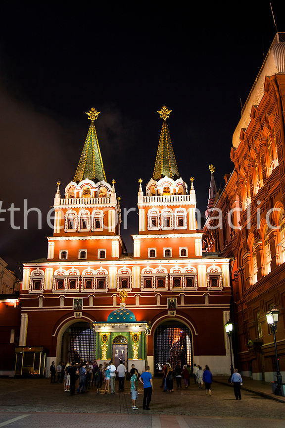 RUSSIA, Moscow. A view of Red Square and the State Historical Museum at night.