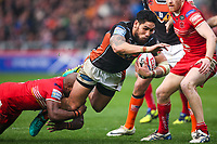 Picture by Alex Whitehead/SWpix.com - 19/03/2017 - Rugby League - Betfred Super League - Salford Red Devils v Castleford Tigers - AJ Bell Stadium, Salford, England - Castleford's Jesse Sene-Lefao is tackled by Salford's Rob Lui.