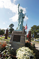 Freedom Corner, featuring a mini Statue of Liberty, during Saturday's vigil in remembrance of Sept. 11, 2001, Cape Girardeau, Missouri.