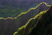View of knife edged ridges in Kalalau Valley with ocean. Kauai, Hawaii