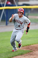 Auburn Doubledays outfielder Greg Zebrack (3) rounds third to score a run during a game against the Batavia Muckdogs on June 16, 2014 at Dwyer Stadium in Batavia, New York.  Batavia defeated Auburn 4-3.  (Mike Janes/Four Seam Images)