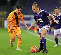 20190912 - Anderlecht , BELGIUM : Anderlecht's Sarah Wijnants (11) and BIIK-Kazygurt's Kamila Kulmagambetova (8)pictured during the female soccer game between the Belgian Royal Sporting Club Anderlecht Dames  and BIIK Kazygurt from Shymkent in Kazachstan, this is the first leg in the round of 32 of the UEFA Women's Champions League season 2019-20120, Thursday 12 th September 2019 at the Lotto Park in Anderlecht , Belgium. PHOTO SPORTPIX.BE | SEVIL OKTEM
