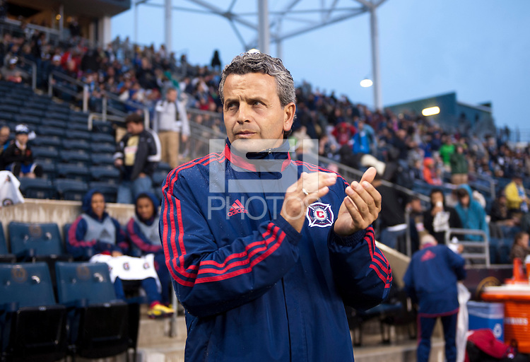 Chicago Fire head coach Frank Klopas watches his team take the field before a Major League Soccer match at PPL Park in Chester, PA.  Philadelphia defeated Chicago, 1-0.