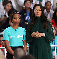 October 11, 2018  Freida Pinto at Today Show Michelle Obama announces the Obama Foundation's Global Girls Alliance to Support Adolescent Girls Education Around the World on International Day of the Girl   at Rockefeller Center Plaza in New York October 11, 2018 Credit:RW/MediaPunch