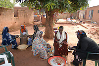 Burkina Faso, Banfora, women boil peel and sort Cashew nuts under Mango tree / Burkina Faso Banfora , Frauen verarbeiten auf traditionelle Weise Kaschunuesse , Nuesse werden per Hand gekocht und geschaelt