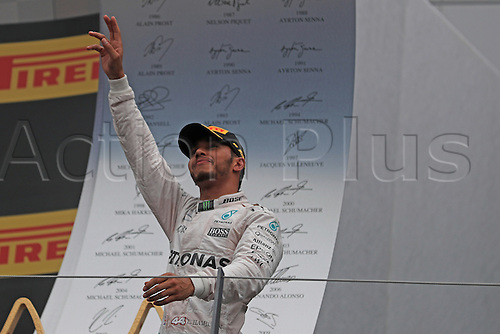 03.07.2016. Red Bull Circuit, Spielberg, Austria. F1 Grand pix of Austria. Race Day.  Lewis Hamilton on the podium as he wins at the Red Bull Ring