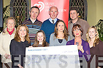 BIG HEARTS: The Coffey Family, Killorglin presents a cheque for EUR36,000 to the Irish Heart foundation, which they raised through their happy hearts events held in Killorglin last Thursday. Front l-r: Ann Riordan (IHF), Chloe, Carla and Anne Coffey with Aideen Lynch (IHF). Back l-r: Marie, John and Tom Melia with Finbarr Coffey.