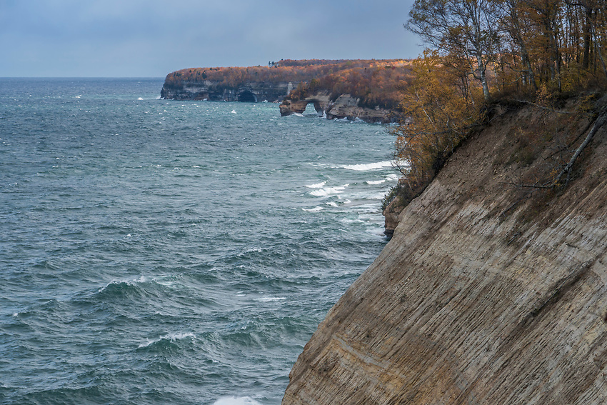 Pictured Rocks National Lakeshore on Lake Superior during fall.