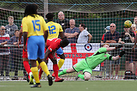 James Alabi of Leyton Orient is denied by Josh Bexon of Harlow Town during Harlow Town vs Leyton Orient, Friendly Match Football at The Harlow Arena on 6th July 2019