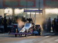 Oct 14, 2016; Ennis, TX, USA; NHRA top fuel driver Steve Torrence during qualifying for the Fall Nationals at Texas Motorplex. Mandatory Credit: Mark J. Rebilas-USA TODAY Sports