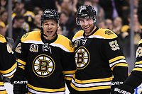 March 13, 2014 - Boston, Massachusetts , U.S. - Boston Bruins right wing Jarome Iginla (12) (left) celebrates his goal with an assist from defenseman Johnny Boychuk (55) during the NHL game between the Phoenix Coyotes and the Boston Bruins held at TD Garden in Boston Massachusetts. Eric Canha/CSM