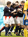 02/04/2005         Copyright Pic : James Stewart.File Name : jspa09_falkirk_v_st_johnstone.RUSSELL LATAPY IS CONGRATULATED AFTER HE SCORES FOR FALKIRK.....Payments to :.James Stewart Photo Agency 19 Carronlea Drive, Falkirk. FK2 8DN      Vat Reg No. 607 6932 25.Office     : +44 (0)1324 570906     .Mobile   : +44 (0)7721 416997.Fax         : +44 (0)1324 570906.E-mail  :  jim@jspa.co.uk.If you require further information then contact Jim Stewart on any of the numbers above.........A