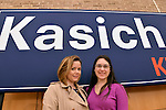 Hempstead, New York, USA. April 4, 2016. L-R, MARIA ZIEHER, of Garden City, and MARIELLA REYZIS of Brooklyn, both students of Hostra Law School, pose in front of Kasich banner at the Town Hall hosted by John Kasich, Republican presidential candidate and governor of Ohio, at Hofstra University David Mack Student Center in Long Island. Zieher registered for the Republican Party to vote for Gov. Kasich. The New York primary is April 19, and Kasich is the first of the three GOP presidential candidates to campaign in Nassau and Suffolk Counties, and is in third place in number of delegates won.