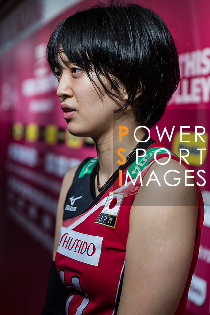 Wing spiker Yurie Nabeya of Japan talks during post match interview of the FIVB Volleyball World Grand Prix - Hong Kong 2017 match between Japan and Serbia on 22 July 2017, in Hong Kong, China. Photo by Yu Chun Christopher Wong / Power Sport Images
