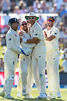 England celebrates the wicket of  Tom Latham of the Black Caps during the final day of the Second International Cricket Test match, New Zealand V England, Hagley Oval, Christchurch, New Zealand, 3rd April 2018.Copyright photo: John Davidson / www.photosport.nz