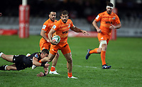 DURBAN, SOUTH AFRICA - JULY 14: Louis Schreuder of the Cell C Sharks looks to tackle Ramiro Moyano of the Jaguares during the Super Rugby match between Cell C Sharks and Jaguares at Jonsson Kings Park on July 14, 2018 in Durban, South Africa. Photo: Steve Haag / stevehaagsports.com