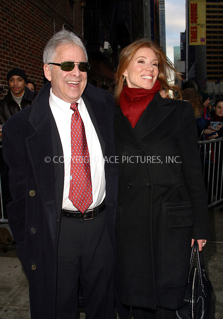 """Chuck Barris and wife arrive at Ed Sullivan Theater to make an appearance on """"The Late Show With David Letterman."""" New York, January 9, 2003. Please byline: Alecsey Boldeskul/NY Photo Press.   ..*PAY-PER-USE*      ....NY Photo Press:  ..phone (646) 267-6913;   ..e-mail: info@nyphotopress.com"""