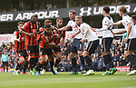 Both Spurs & Bournmouth players tussle before the corner during the English Premier League match at the White Hart Lane Stadium, London. Picture date: April 15th, 2017.Pic credit should read: Chris Dean/Sportimage