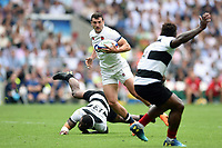 Jonny May of England gets past Semi Radradra of the Barbarians. Quilter Cup International match between England and the Barbarians on May 27, 2018 at Twickenham Stadium in London, England. Photo by: Patrick Khachfe / Onside Images