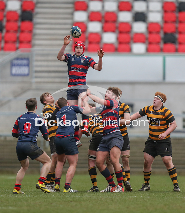 ULSTER SCHOOLS CUP SEMI-FINAL | Monday 29th February 2016<br /> <br /> Match action Ulster Schools Cup semi-final between RBAI and Ballymena Academy at Kingspan Stadium, Ravenhill Park, Belfast. Photo credit: John Dickson / DICKSONDIGITAL