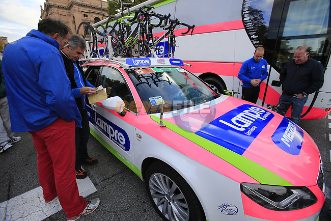 Lampre-Merida team car before the start of the 107th edition 2013 Tour of Lombardy 242 Km starting in Bergamo and finishing in Lecco. 6th October 2013.<br /> (Photo: Eoin Clarke/www.newsfile.ie)