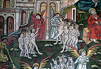 BNPS.co.uk (01202 558833)<br /> Pic: PhilYeomans/BNPS<br /> <br /> The lucky one's are escorted up to heaven by angels...<br /> <br /> Doom finally has its day! - A 500 year old 'Day of Judgement' painting, that has survived Henry VIII th, the Puritans and even Victorian prudery has been restored to its former glory.<br /> <br /> Thought to be the largest medieval 'Doom' painting in the country, the striking image been painstakingly restored after a tumultuous 500 year history on the chancel arch of St Thomas Becket church in Salisbury.<br /> <br /> Originally painted in the 15th century, the chancel was white-washed during the Reformation before being uncovered nearly 300 years later in the early 19th century. <br /> <br /> Prudish Victorian's shocked by the naked images then recovered it before it finally re-emerged in 1881 as opinions relaxed. <br /> <br /> Experts have spent three months conserving the faded painting, which included injecting lime slurry behind areas of paint to affix them again to the wall. and delicately 'touching up' in places before finishing it with varnish to bring out its colour.<br /> <br /> Most pre 16th century churches and cathedrals in Britain would have been plastered with religious images and iconography to encourage their often illiterate congregation to good behaviour.<br /> <br /> But during Henry VIII th Protestant Reformation churches were stripped of all graven imagery and the paintings were either whitewashed over or completely destroyed.<br /> <br /> Because of this very few works still survive today making the Salisbury fresco a truly remarkable survivor.<br /> <br /> The restoration is part of a larger set of works at the historic church which are due to cost £1.5million.