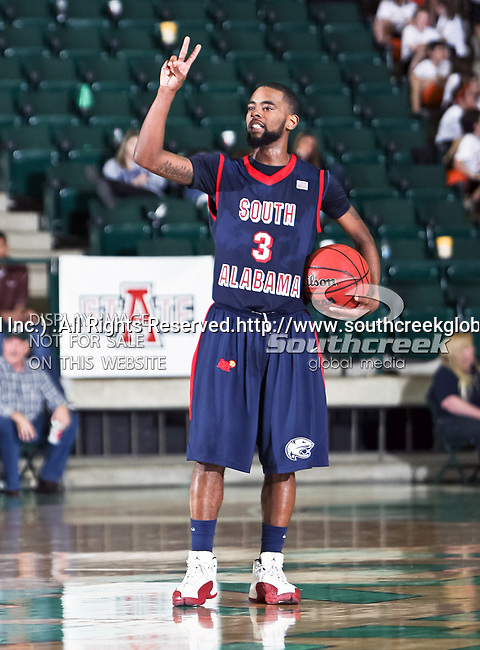 South Alabama Jaguars guard Allyn Cooks (3) in action during the NCAA  basketball game between the South Alabama Jaguars and the University of North Texas Mean Green at the North Texas Coliseum,the Super Pit, in Denton, Texas. UNT defeated South Alabama 82 to 79...