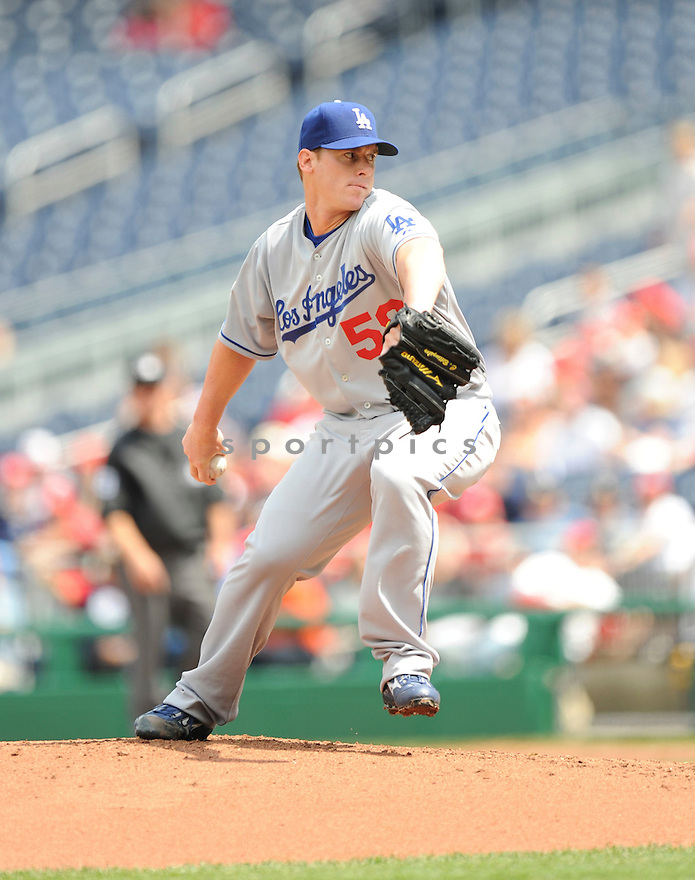 CHAD BILLINGSLEY, of the Los Angeles Dodgers, in action during the Dodgers game against the Washington Nations  at Nationals Park in Washington D.C.on April 25, 2010.   The Dodgers win the game 1-0....
