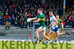 Tom O'Sullivan  Kerry in action against Dessie Mone Monaghan during the Allianz Football League Division 1 Round 5 match between Kerry and Monaghan at Fitzgerald Stadium in Killarney, on Sunday.
