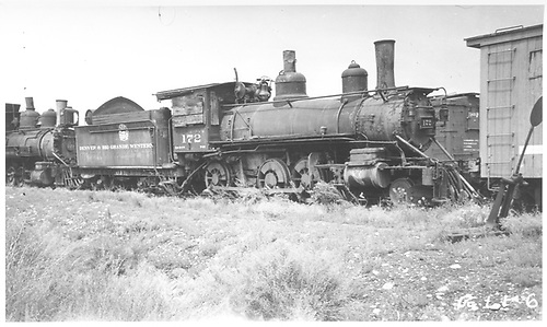 Engine #172 stored.<br /> D&amp;RGW  Gunnison, CO  8/11/1935