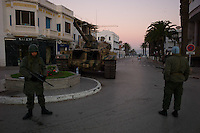 Tunis, January 16, 2011.The Army guards every strategic crossroad such as this one in La Marsa..