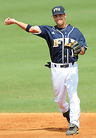 24 February 2008: Florida International second baseman Corey Lozano (1) throws to first in the Southern California 12-7 victory over FIU at University Park Stadium in Miami, Florida.