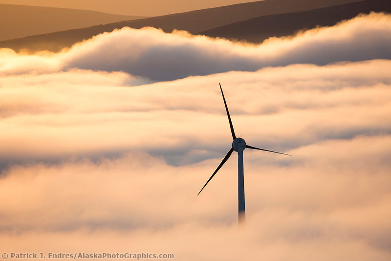 Wind generation turbine by Anvil mountain in Nome, Alaska.