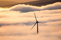 Wind generation turbine by Anvil mountain in Nome, Alaska.