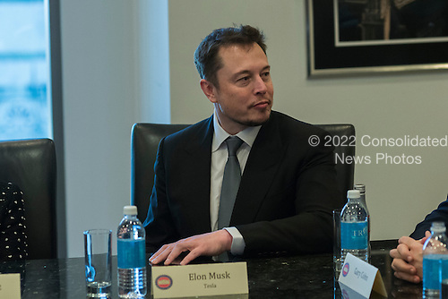 Tesla CEO Elon Musk is seen in attendance at a meeting of technology chiefs in the Trump Organization conference room at Trump Tower in New York, NY, USA on December 14, 2016. <br /> Credit: Albin Lohr-Jones / Pool via CNP