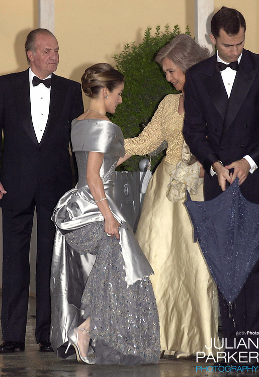Queen Sofia of Spain & Letizia Ortiz Rocasolano attend a Gala Dinner at the El Pardo Royal Palace in Madrid..Picture: UK Press