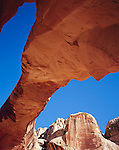 Capitol Reef National Park, UT<br /> Hickman Bridge, a stone formation of red colored Kayenta Sandstone