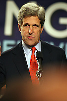 Senator John Kerry at a February 2008 Obama campaign rally in Boston.