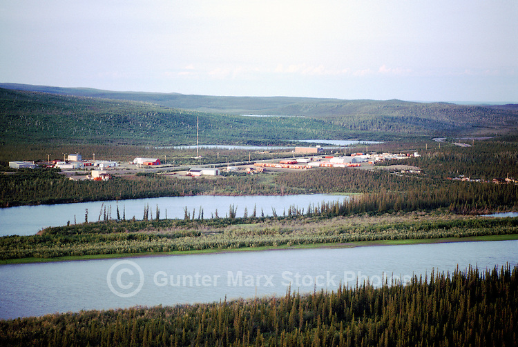 Inuvik Industrial Area and Mackenzie River Delta, Inuvik, NWT, Northwest Territories, Arctic Canada - Black Spruce Trees, Aerial View